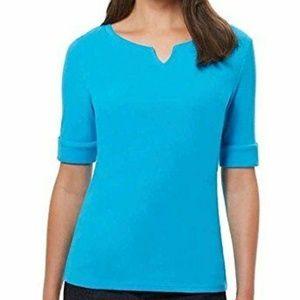 Women's Pima Cotton/Lycra V-Neck Cuff Sleeves T-Sh